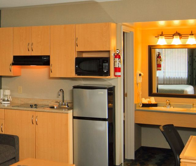 Kitchenette Royalty Free Stock Image Hotel Kitchenette: A Different  Vancouver Airport Hotel