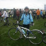 Janet Pachal getting ready to ride to Conquer Cancer
