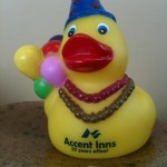 Accent Inns anniversary rubber duck