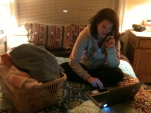 Victoria BC hotel chain CEO Mandy Farmer, multitasking at home