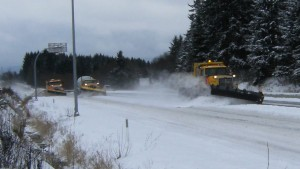 Mainroad Contracting snow plows in action  on Vancouver Island BC
