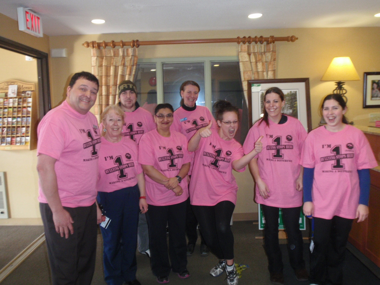 Accent Inn Kelowna hotel staff supporting Pink Shirt Day