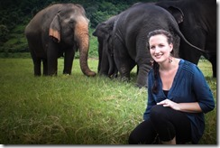 Ashley Melsted with the Elephants