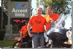 Bill Wellbourn and Dave Valentine with the Westcoast Ride to Live standing at the Accent Inn Victoria