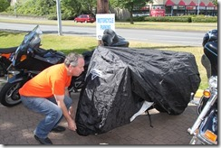 Motorcycle covers available at Accent Inns as part of their motorcycle friendly hotel program