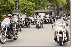 Lots of bikers at the Victoria hotel during the ride to live event