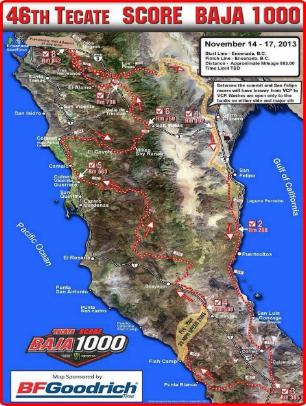 Baja 1000 course map