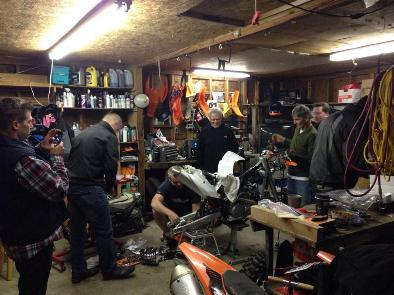 Baja 1000 race bike prep night