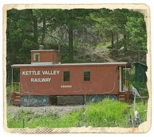 The replica caboose built by Paul Lautard alngside the KVR trail at his property in Rhone, near the Kettle River valley.