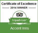 Accent Inn recieives tripadvisor certificate of excellence
