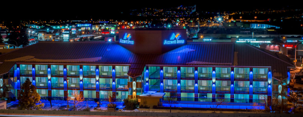 accent-inn-kamloops-exterior-night-winter-looking-over-kamloops